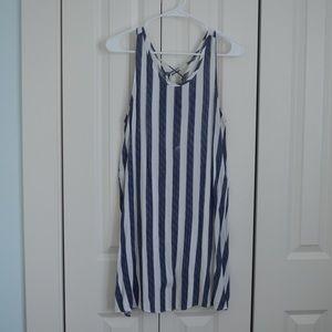 Francesca's Blue and White Striped Shift Dress